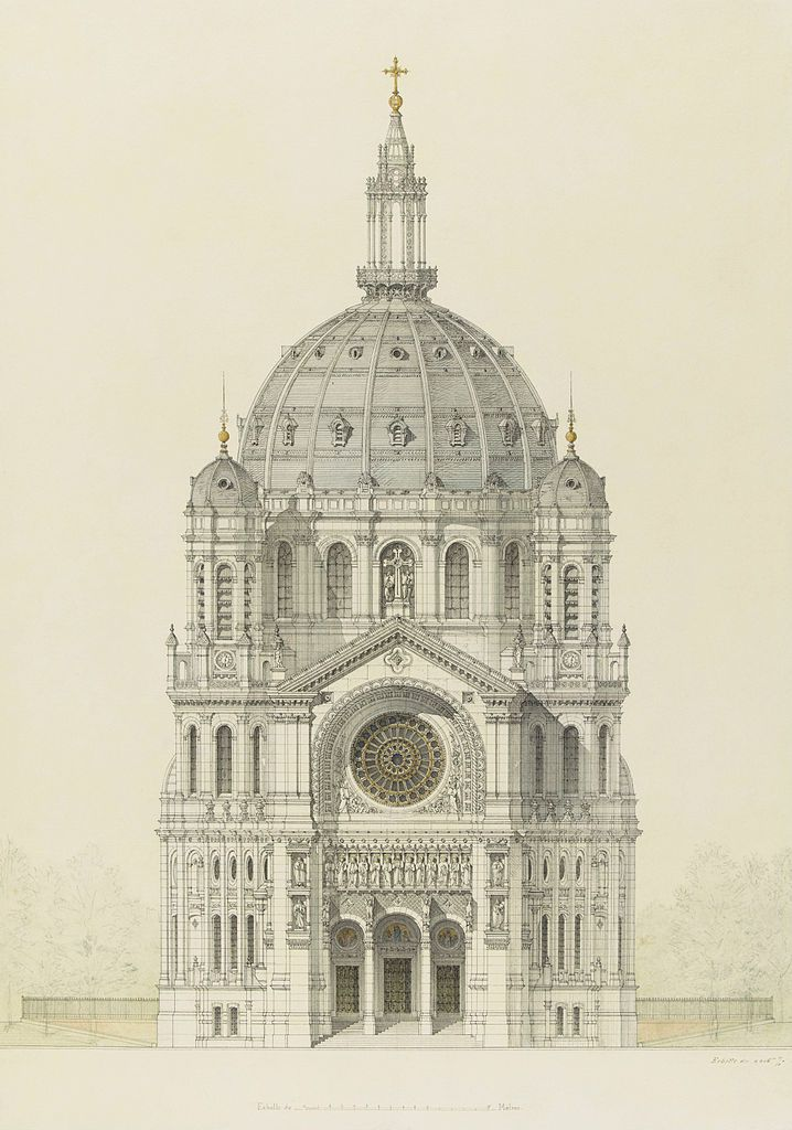 Victor Baltard (1805–1874) Church of Saint Augustin, Paris, elevation of the main facade (1868 - 1871) Pen and black ink, watercolour and gold highlights. Height: 600 mm (23.62 in). Width: 420 mm (16.54 in).