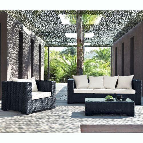 Divano nero da giardino in resina intrecciata 3 posti