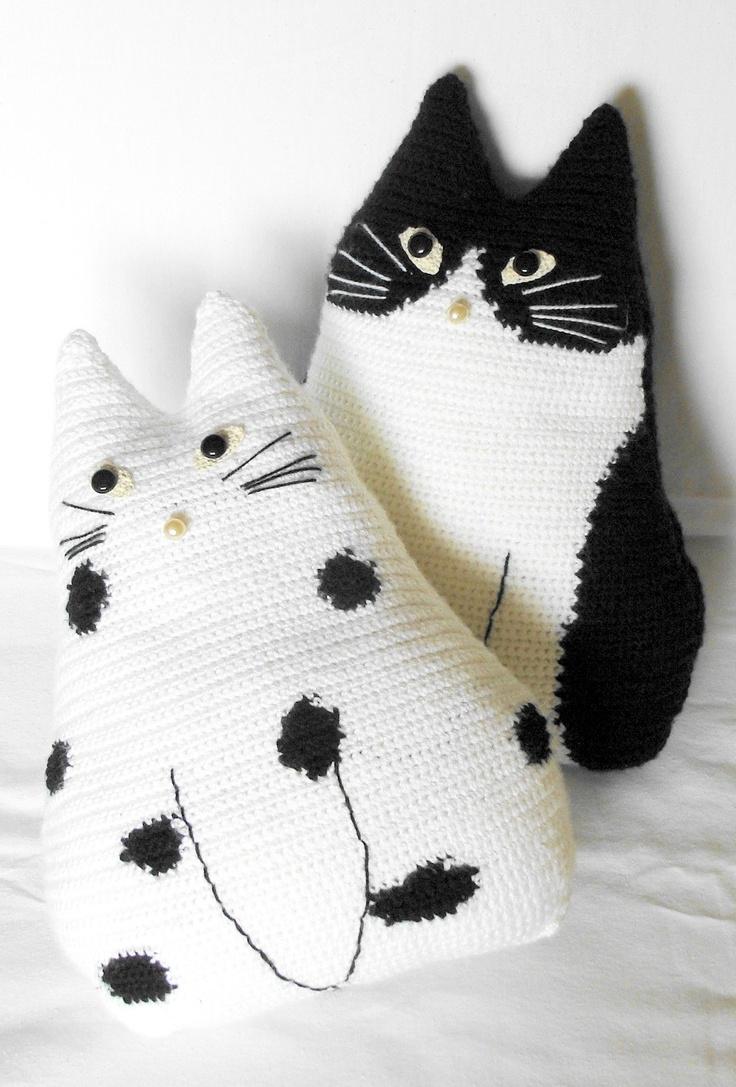"Cute crochet toy pillows set   ""Cat Pals""  - crochet cushions, pillows - Black & White - Stuffed"