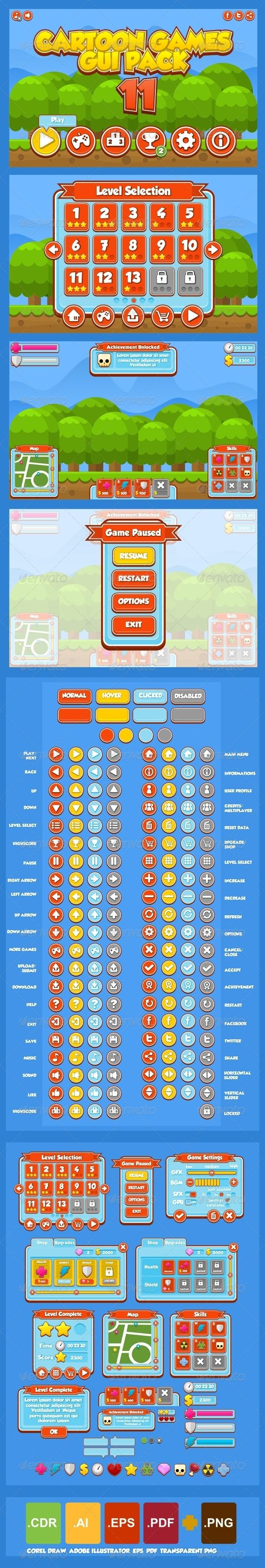 Cartoon Games GUI Pack 11  - Web Elements Vectors