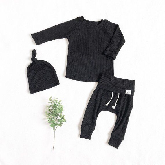 c9c97018dac17 Black ribbed baby boy outfit, ribbed knit baby clothes, take home outfit, baby  boy clothes.