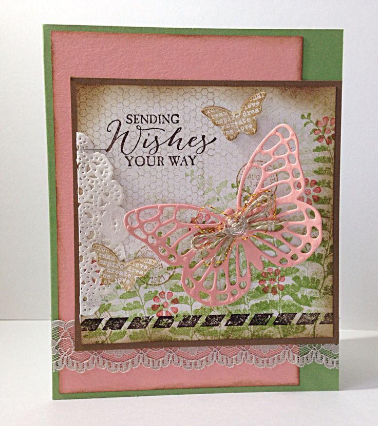 Kaart met de Stampin' Up! set 'Butterfly Basics'.