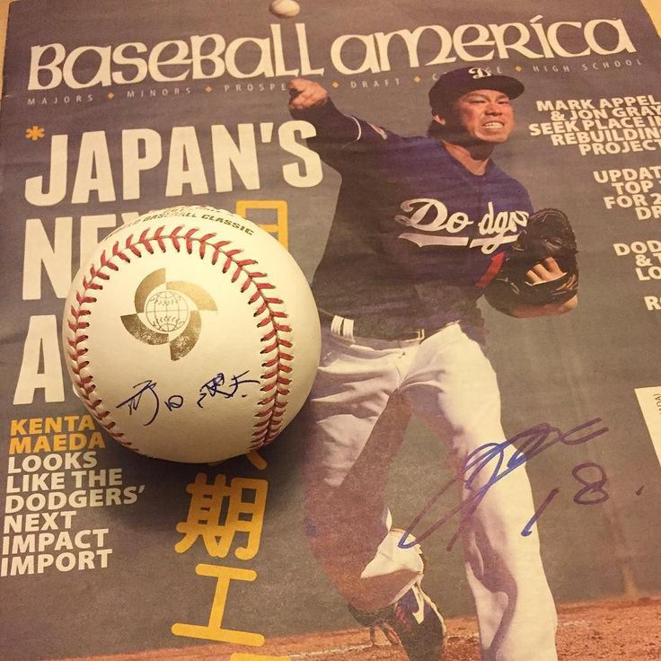 THINK BLUE: Kenta Maeda held an earthquake relief for Japan yesterday collecting donations for autographs. I got the 2013 WBC ball signed in Kanji and the Baseball America in English. #KentaMaeda #KingKenta #japaneseearthquakerelief #2013WBC #BaseballAmerica #Kanji #dodgerstadium #UnderTheLogo by dodgerbobble