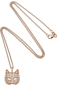 ANITA KO 18-karat rose gold diamond cat mask necklace $10,120 FABULOUS!