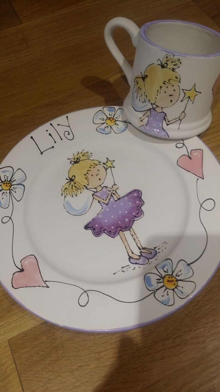 Another pretty fairy and mug set personalised for Lily from .facebook.com/ & 20 best Plates by Sherbert Fizz Ceramics images on Pinterest ...