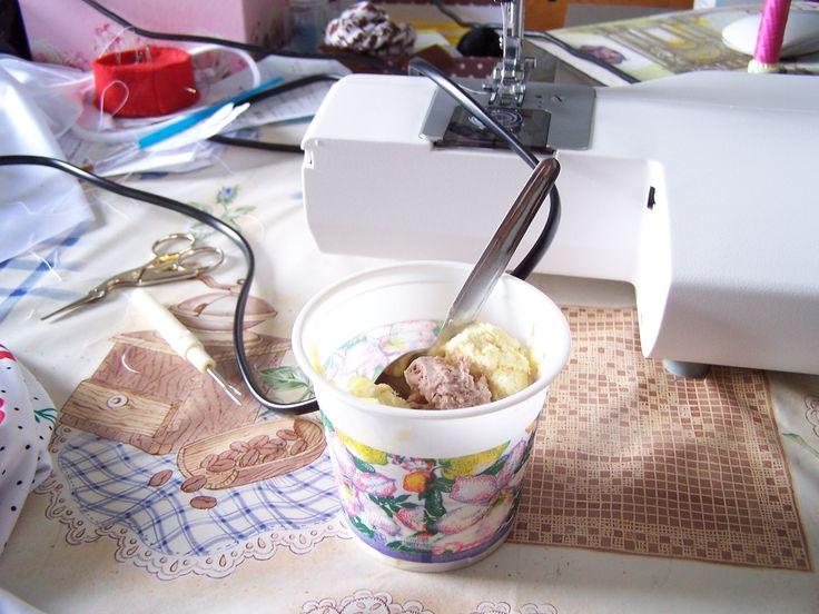 Working hard ... ice cream banana and hazelnut at Maryam Creations New Fashion Brand ;) ;)