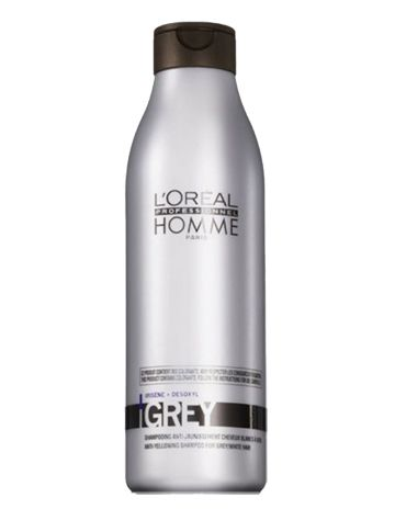 Loreal Homme Grey Şampuan 250 ml - Erkeklere Özel Gri ve Beyaz Saçlar İçin Şampuan Gri ve beyaz saça sahip erkekler için özel olarak üretilmiştir. Saçtaki beyaz ve kır görünümü canlandırarak parlaklık verir. Beyaz saçlardaki sararmaları önler. Saç derisinin ferahlamasını sağlar. Saçı ağırlaştırmaz ve yumuşatır. Günlük kullanıma ve tüm saç tipleri için kullanımı uygundur.