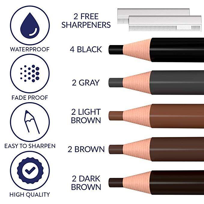 12 Piece Waterproof Eyebrow Pencil set in 5 different ...