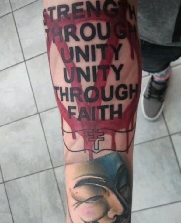 Amazing V for Vendetta tattoo.