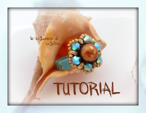 "Tutorial Anello ""Spring"" con Superduo, Perla 8 mm e Bicono Swarovski, Tila Beads - DIY Ring Tutorial"