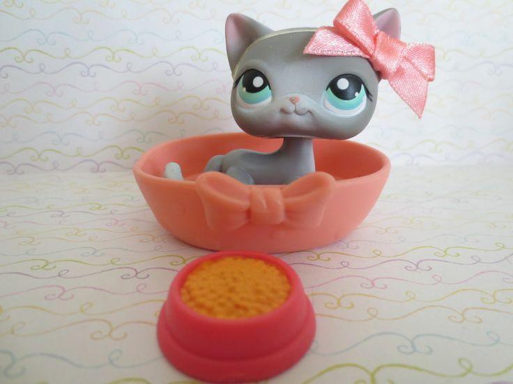 Littlest Pet Shop~#126 Gray White SHORT HAIR Cat ~ Blue Eyes & Accessories