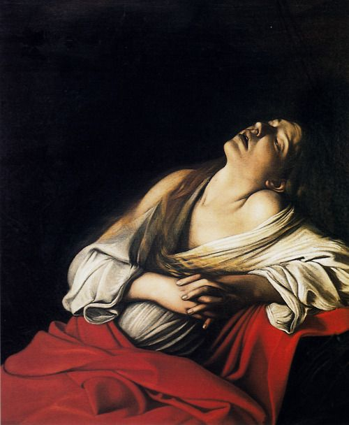 Caravaggio, Mary Magdalen in Ecstasy, 1606. It's funny how closely religious ecstasy resembles orgasm.