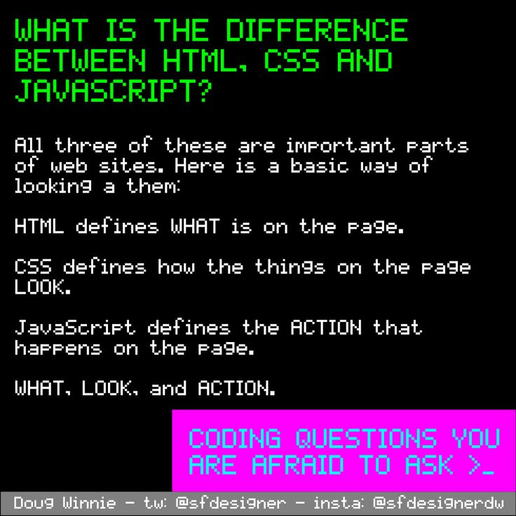 What is the difference between HTML, CSS and JavaScript? #questions #coding #programming #afraidtoask