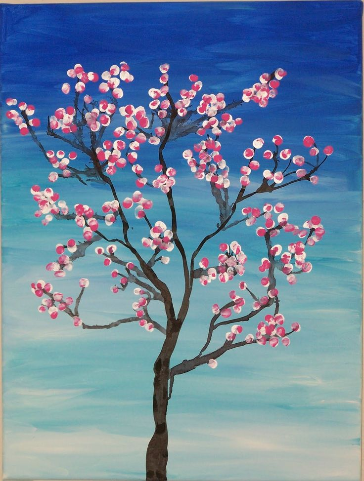 """Scott Class Project - One of the most wonderful symbols of spring is the full, colorful and fragrant cherry blossom tree. Ms. Scott's first graders got together to create a gorgeous painting of this symbol, a Cherry Blossom Tree in full bloom. Sharon Kurk loaned her painting expertise with this project while Kandee Shuken directed the kids in their efforts. Every child contributed by using their tiny finger tips to """"paint"""" the cherry blossoms and it's absolutely beautiful."""