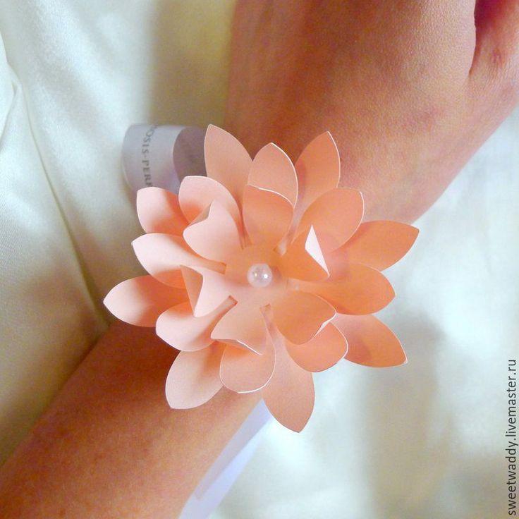 """Купить Браслет для подружки невесты """"Нимфея"""" - бумажные цветы, бумажный декор, розовый, свадьба в розовом"""