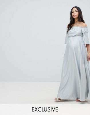 f4149a10a9169 DESIGN Maternity Lace Bardot Maxi Dress | Baby pictures pre-baby ...