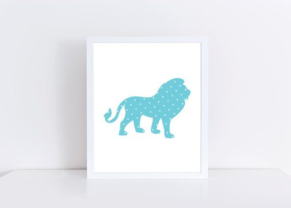Baby Boy Nursery Decor, Lion Printable, Polka Dot Print, PetrichorBlue on Etsy.com