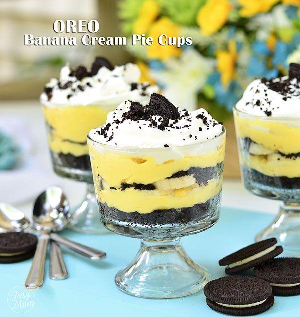 Easy Oreo Banana Cream Pie Cups - from @Cheryl Tidymom: Desserts, Banana Cream Pies, Sweet, Recipe, Pies Cups, Food, Oreo Bananas, Easy Oreo, Bananas Cream Pies