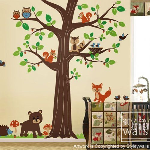 Woodland Forest Animal Friends Huge Tree Nursery Vinyl Wall Decal Set