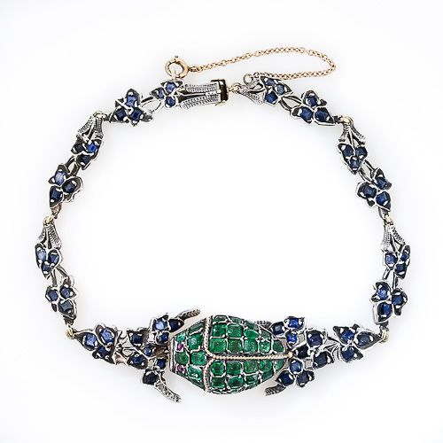 Antique Scarab Vinaigrette Bracelet. A wonderful and unique Victorian rarity, set with emeralds, sapphires & 2 ruby eyes