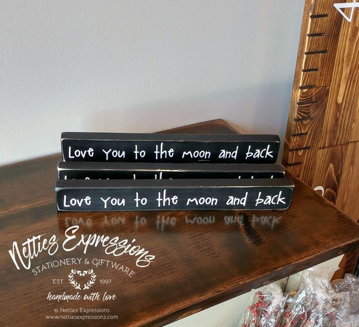 Love you to the moon and back 1.75x12 Wood Sign