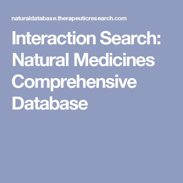 Interaction Search: Natural Medicines Comprehensive Database