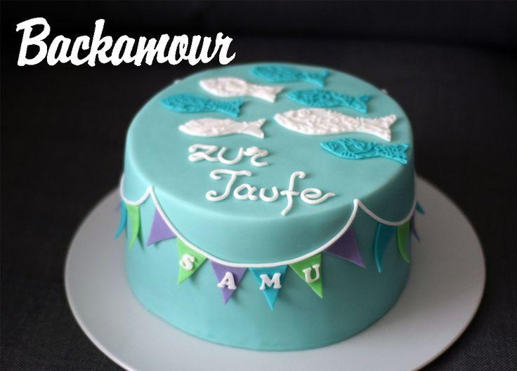 Backamour  die se Seite Tauftorte mit Wimpelkette  Fondant Madness  Taufe kuchen Torte