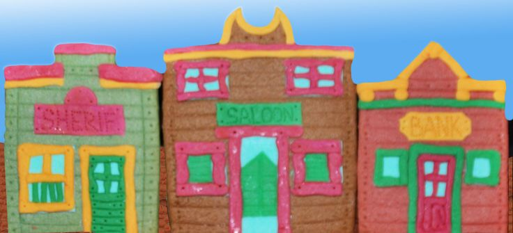 Sheriff's office, saloon and bank made of biscuit and fondant for Lucky Luke birthday cake