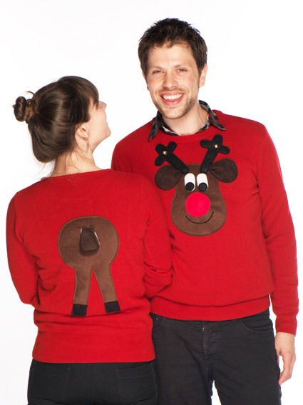 Novelty Christmas Jumper Front & Back Brown Rudolph Squeaky Nose - Men's XS-XXXL £46.95