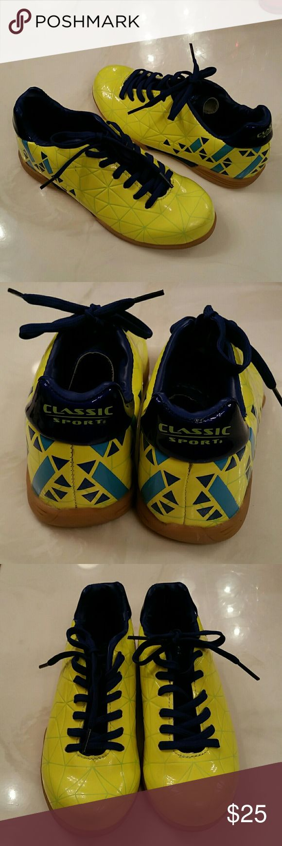 Kids Indoor Soccer shoes Can be for boy or girl. Yellow and blue. Only worn once! Nearly brand new! Classic Sport Shoes Sneakers