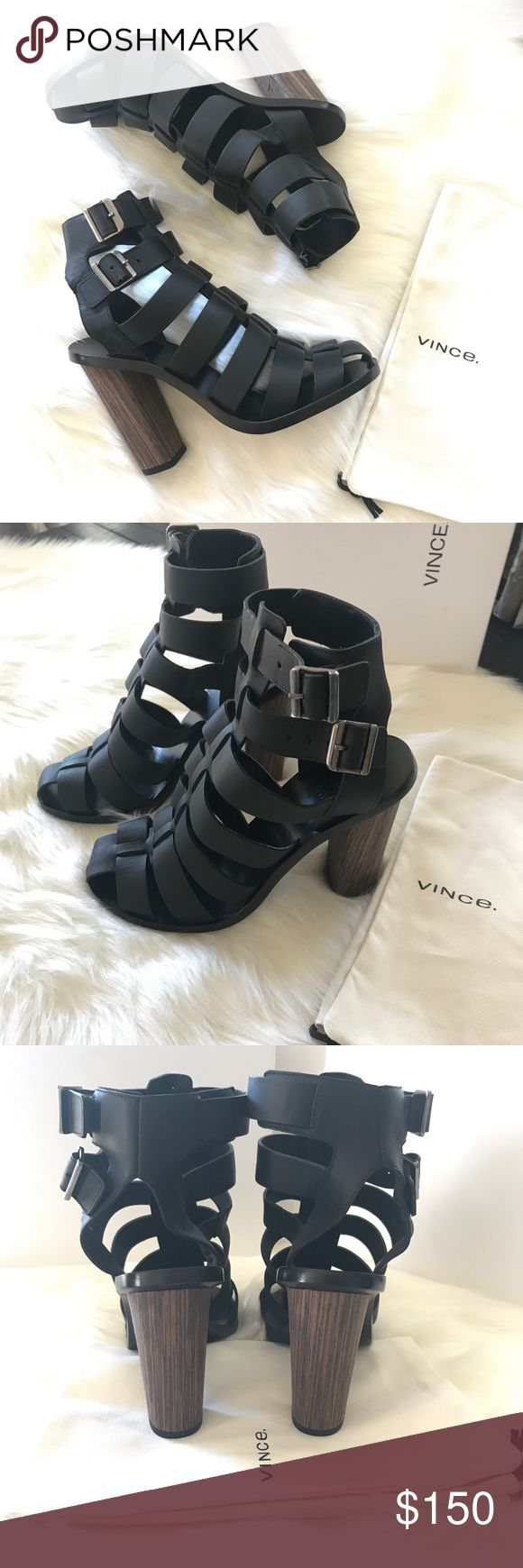 """Vince Nicolette Strappy Leather Sandal Includes box and dust bag. Has a small chip in bottom of one shoe.  4"""" chunky wooden Heel Two adjustable buckle straps made in Italy In my opinion could fit 6.5 or 7 Vince Shoes Sandals"""
