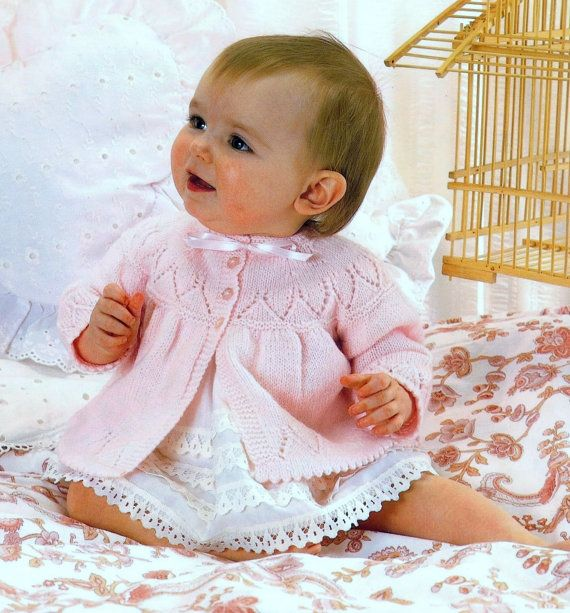 Baby 4ply Matinee Jacket for Sizes 17 to 19 inches  - PDF of Vintage Knitting…