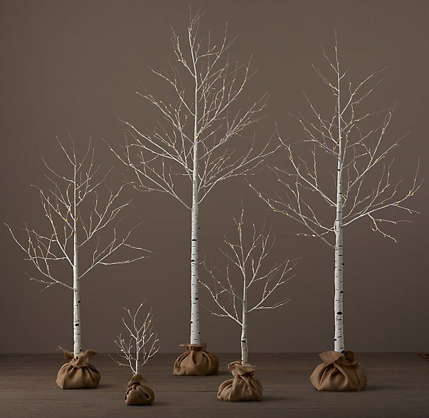 "Winter Wonderland Trees - Birch | $39 - $229  2' Tree: 24""H 3' Tree: 44-48""H 5' Tree: 68-72""H 7' Tree: 92-96""H 9' Tree: 116-120""H Cord: 16½'L"