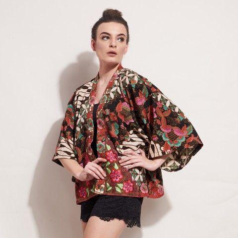 WULANDARI KIMONO (PINK) Batik with Flower Embroidery