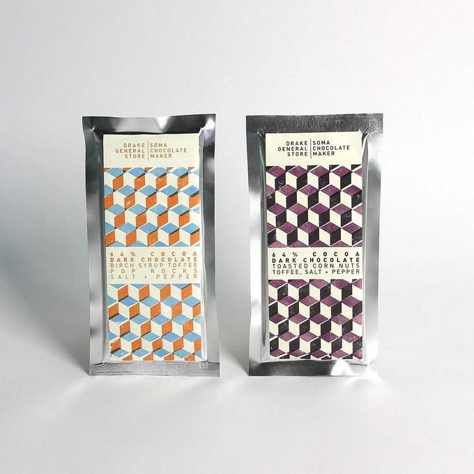 Soma chocolate bar drake general store design for Food bar packaging