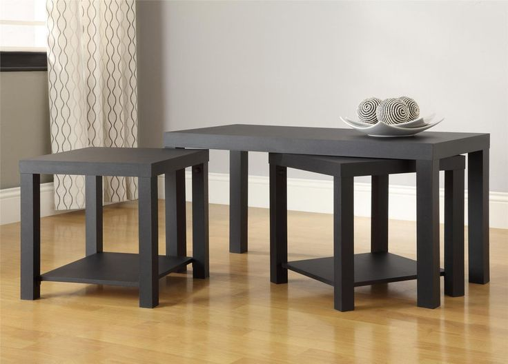Black Coffee Table 3-Piece End Tables Living Room Furniture Accent Home Decor #BlackCoffeeTable #Contemporary