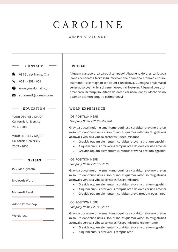 professional resume  cv template  original colors create