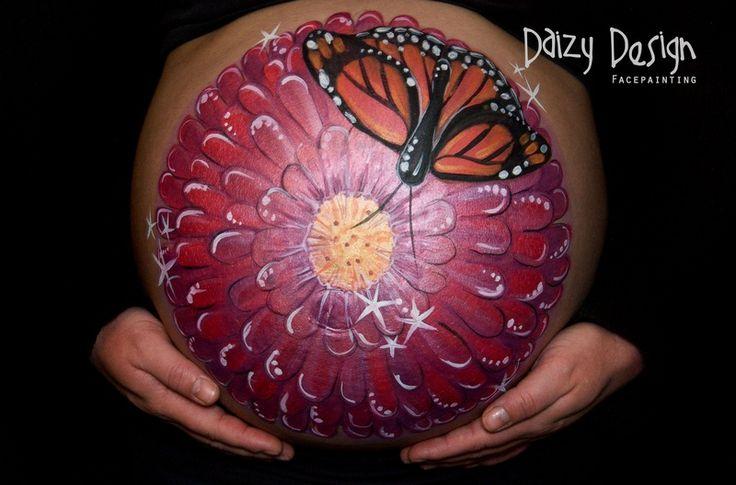 Butterfly on a flower belly paint. Cute idea!  Daizy Design Face Painting - Daizy Design