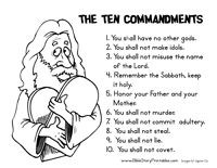 Ten commandments coloring page midweek school for Keep the commandments coloring page
