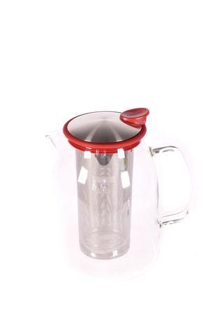 """Pichet à thé glacé 'Mist"""" en verre avec bordure de couleur rouge"""