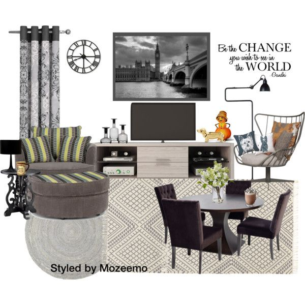 """""""Student's Flat"""" by mozeemo on Polyvore.  This is the living/dining room of 2 students who are sharing during their Undergraduate Course (one of the students owns the flat as a gift from her parents)."""