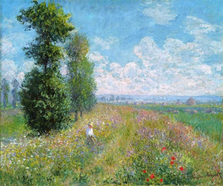 Meadow with Poplars, 1875 by Claude Monet. Impressionism. landscape