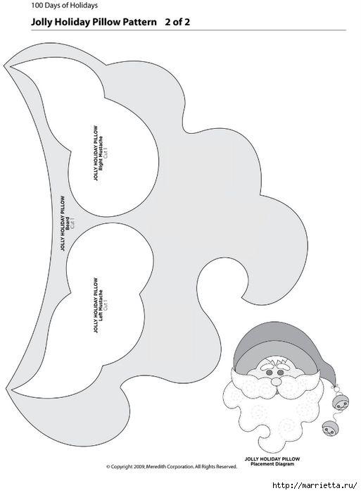 feltro Almofada Papai Noel molde 1 (513x700, 91Kb)