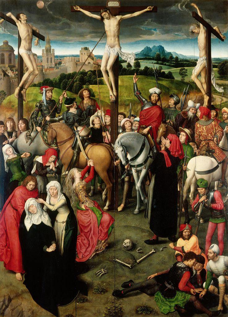 Запрестольный образ 'Страсти Христовы' (открыт). Центральная панель. Распятие 1491 (205 х 150). Hans Memling (1440-1494)