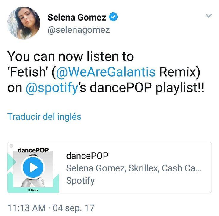 You can now listen to Fetish (@WeAreGalantis Remix) on @spotifys dancePOP playlist!! via @selenagomez [Link in Bio]  Ahora puedes escuchar 'Fetish' (@WeAreGalantis Remix) en @spotify en la lista de reproducciónes dancePOP!! vía @selenagomez [Enlace en nuestra Biografía]  #SelenaGomez #Selena #Selenator #Selenators #Fans #Spotify
