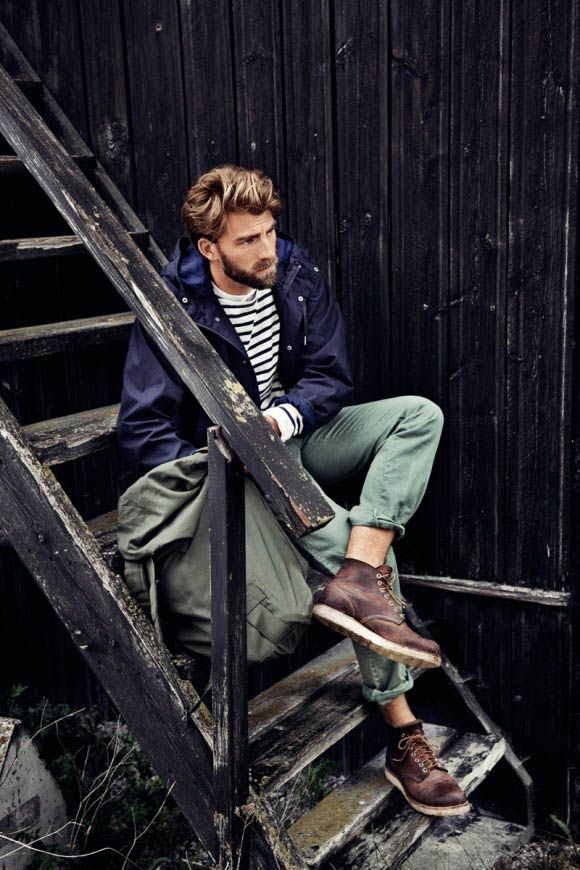 Beard & boots, cuffed chinos, Red Wing Heritage 8196 round toe