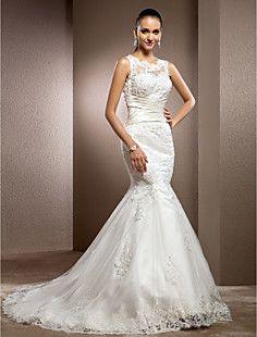 Trumpet/Mermaid Jewel Court Train Lace Wedding Dress – USD $ 296.99