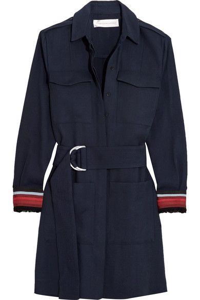 Victoria, Victoria Beckham - Belted Grosgrain-trimmed Twill Shirt Dress - Navy - UK14