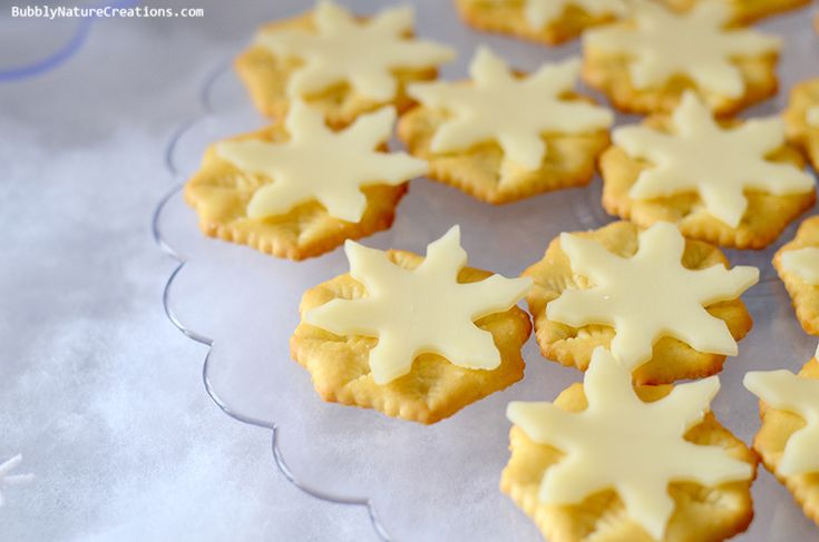 used snowflake Ritz crackers with Provolone cheese cut with a snowflake cookie cutter!