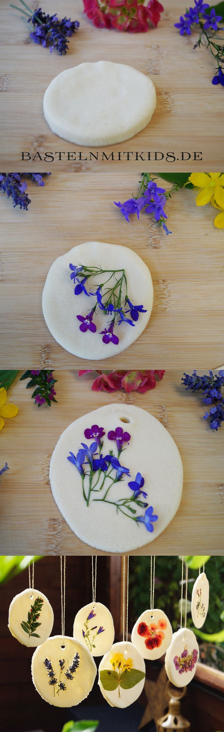 DIY / how to make a beautiful *salt dough* mobile with pressed flowers <3